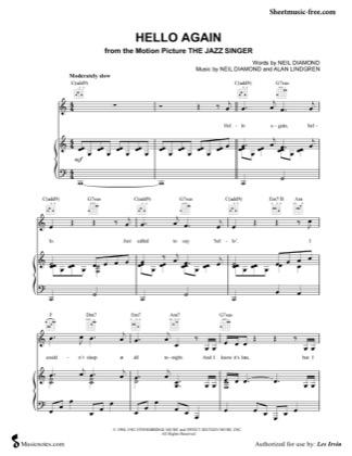 Jazz Singer Piano Sheet Music