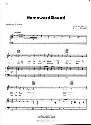 Thumbnail of first page of Homeward Bound  piano sheet music PDF by Simon And Garfunkel.
