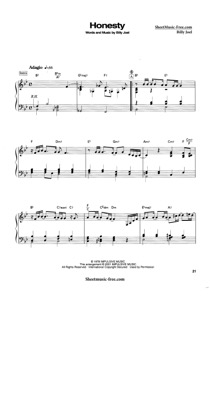 Thumbnail of first page of Honesty  piano sheet music PDF by Billy Joel.
