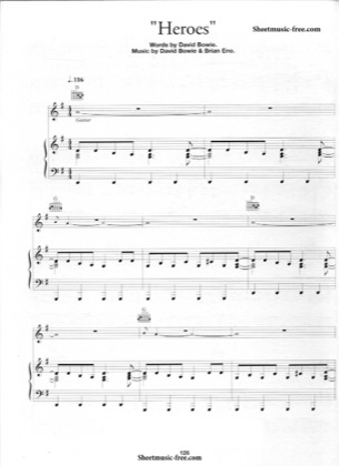 Thumbnail of first page of Heroes  piano sheet music PDF by David Bowie.