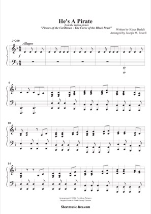 Thumbnail of first page of He's A Pirate (2) piano sheet music PDF by Pirates Of The Caribbean.