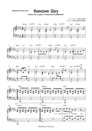 Thumbnail of first page of Hometown Glory piano sheet music PDF by Adele.