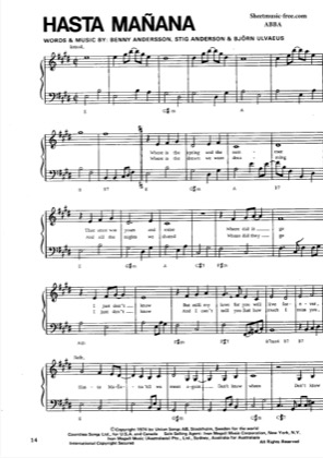 Thumbnail of first page of Hasta Manana piano sheet music PDF by ABBA.