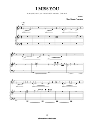 Thumbnail of first page of I Miss You  piano sheet music PDF by Adele.