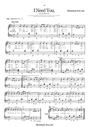 Thumbnail of first page of I Need You  piano sheet music PDF by The Beatles.