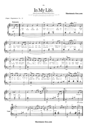 Thumbnail of first page of In My Life  piano sheet music PDF by The Beatles.