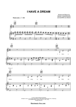 Thumbnail of first page of I Have A Dream  piano sheet music PDF by ABBA.