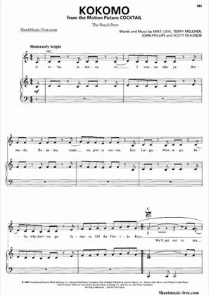 Thumbnail of first page of Kokomo  piano sheet music PDF by Beach Boys.