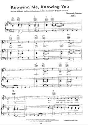 Thumbnail of first page of Knowing Me Knowing You piano sheet music PDF by ABBA.