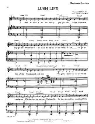 Lush Life by Nat King Cole Piano Sheet Music   Sheetdownload