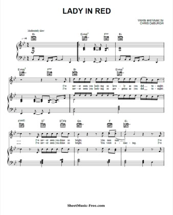 Print and download for free: Lady In Red piano sheet music by Chris de Burgh.