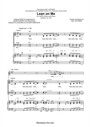 Thumbnail of first page of Lean On Me  piano sheet music PDF by Bill Withers.