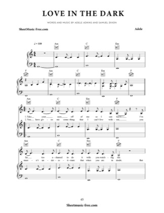 Thumbnail of first page of Love In The Dark piano sheet music PDF by Adele.