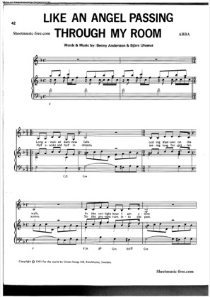 Thumbnail of first page of Like An Angel Passing Through My Room piano sheet music PDF by ABBA.