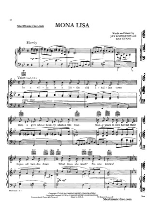 Thumbnail of first page of Mona Lisa piano sheet music PDF by Nat King Cole.