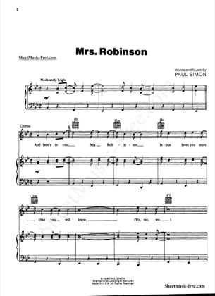 Thumbnail of first page of Mrs Robinson piano sheet music PDF by Simon and Garfunkel.