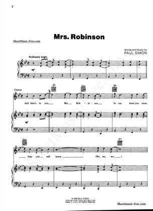 Mrs Robinson by Simon and Garfunkel Piano Sheet Music | Sheetdownload