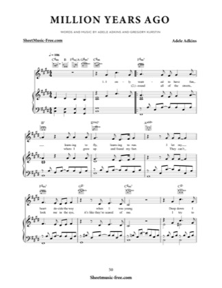 Thumbnail of first page of Million Years Ago piano sheet music PDF by Adele.