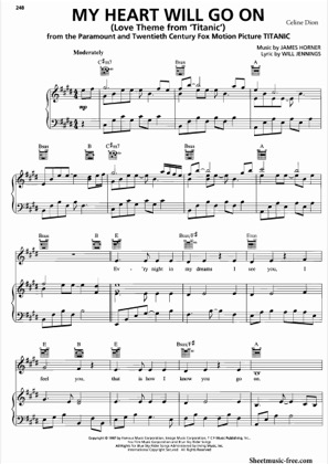 Thumbnail of first page of My Heart Will Go On piano sheet music PDF by Celine Dion.