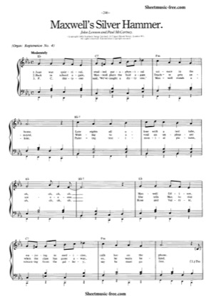 Thumbnail of first page of Maxwell's Silver Hammer piano sheet music PDF by The Beatles.