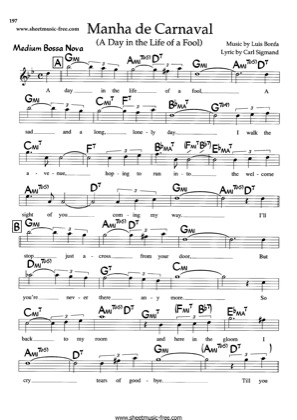 Print and download for free: Manha De Carnaval piano sheet music by Luis Bonfa.