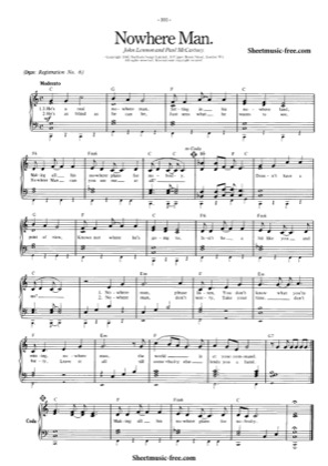 Thumbnail of first page of Nowhere Man piano sheet music PDF by The Beatles.