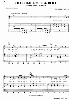 Thumbnail of first page of Old Time Rock And Roll  piano sheet music PDF by Risky Business.