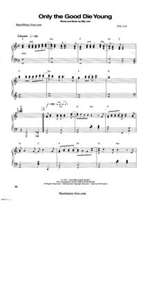Thumbnail of first page of Only The Good Die Young piano sheet music PDF by Billy Joel.