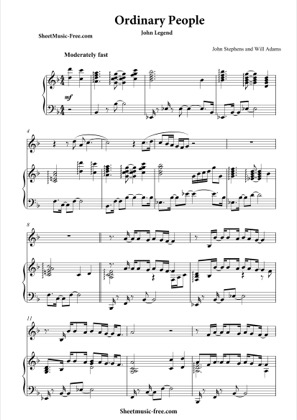 Thumbnail of first page of Ordinary People piano sheet music PDF by John Legend.