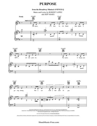 Thumbnail of first page of Purpose Sheet piano sheet music PDF by Avenue Q.