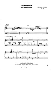 Thumbnail of first page of Piano Man (2) piano sheet music PDF by Billy Joel.