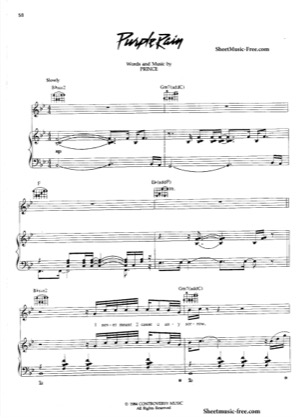 Thumbnail of first page of Purple Rain piano sheet music PDF by Prince.