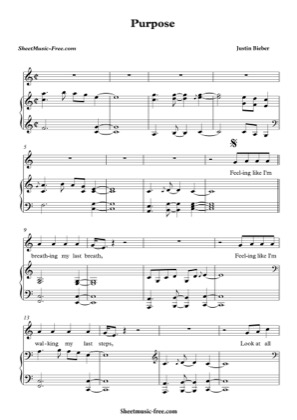 Thumbnail of first page of Purpose  piano sheet music PDF by Justin Bieber.