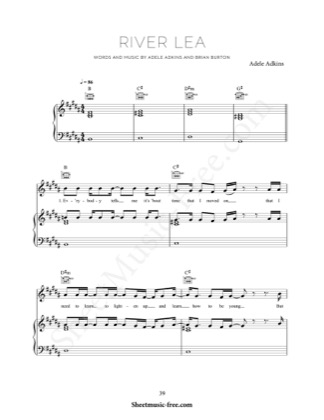 Thumbnail of first page of River Lea piano sheet music PDF by Adele.