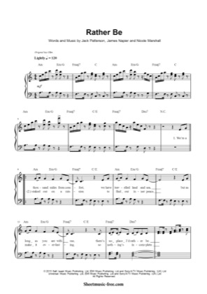 Thumbnail of first page of Rather Be  piano sheet music PDF by Clean Bandit.
