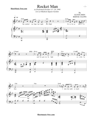 Thumbnail of first page of Rocket Man piano sheet music PDF by Elton John.