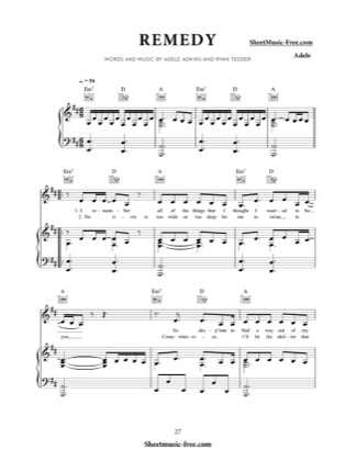 Thumbnail of first page of Remedy piano sheet music PDF by Adele.