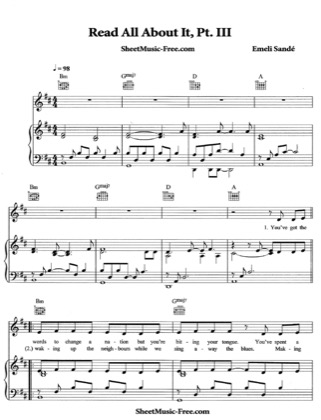 Thumbnail of first page of Read All About It piano sheet music PDF by Emeli Sande.