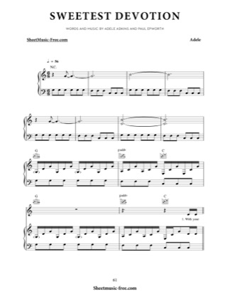Thumbnail of first page of Sweetest Devotion piano sheet music PDF by Adele.