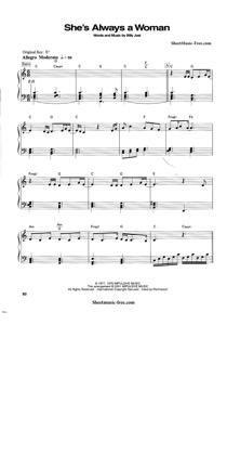 Thumbnail of first page of She's Always A Woman (2) piano sheet music PDF by Billy Joel.
