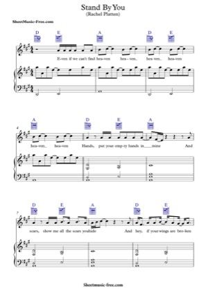 Thumbnail of first page of Stand By You piano sheet music PDF by Rachel Platten.