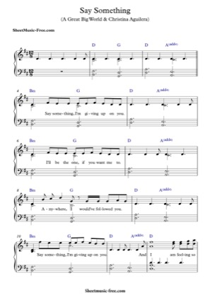 Thumbnail of first page of Say Something piano sheet music PDF by Christina Aguilera ft A Great Big World.
