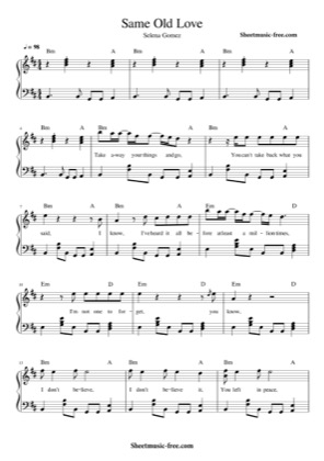 Thumbnail of first page of Same Old Love piano sheet music PDF by Selena Gomez.