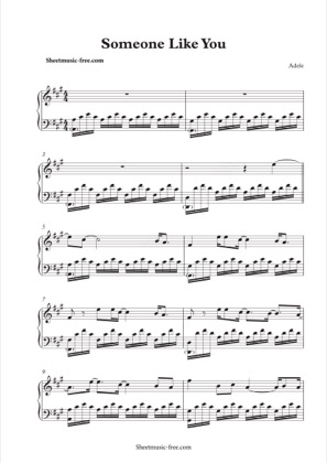 Thumbnail of first page of Someone Like You piano sheet music PDF by Adele.