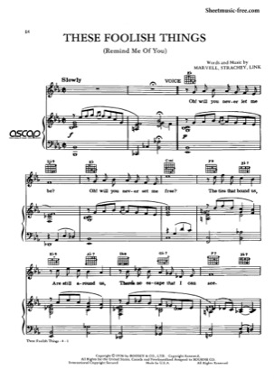 Thumbnail of first page of These Foolish Things piano sheet music PDF by Ella Fitzgerald.