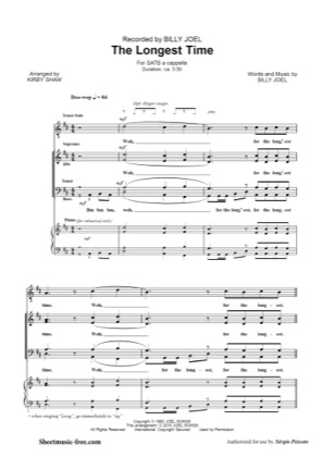 Thumbnail of first page of The Longest Time piano sheet music PDF by Billy Joel.