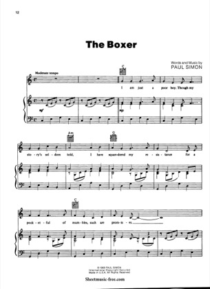 Thumbnail of first page of The Boxer  piano sheet music PDF by Simon and Garfunkel.