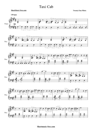Thumbnail of first page of Taxi Cab piano sheet music PDF by Twenty One Pilots.