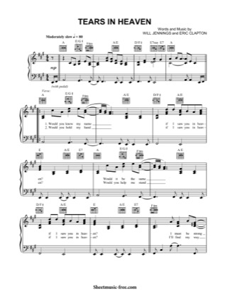 Thumbnail of first page of Tears In Heaven  piano sheet music PDF by Eric Clapton.