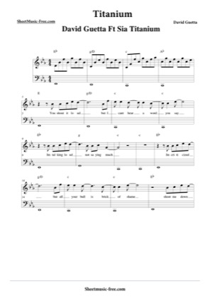 Thumbnail of first page of Titanium  piano sheet music PDF by David Guetta.